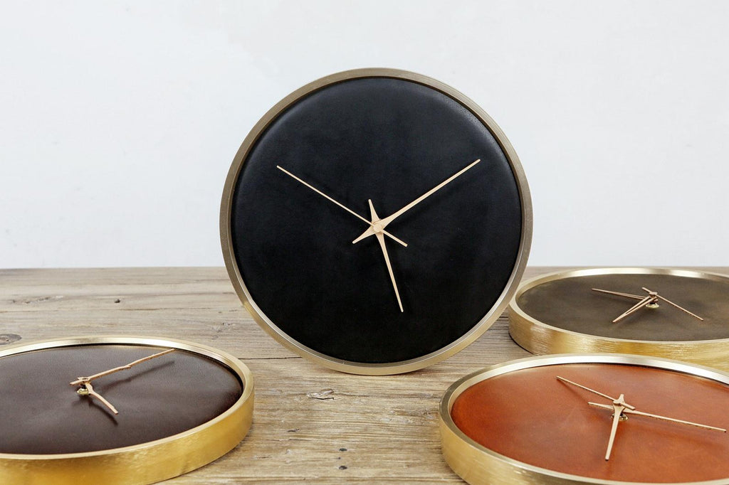 Minimalist leather wood wall clock decor for living room