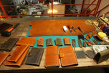 Leather 3 ring binder business portfolio folders with pockets