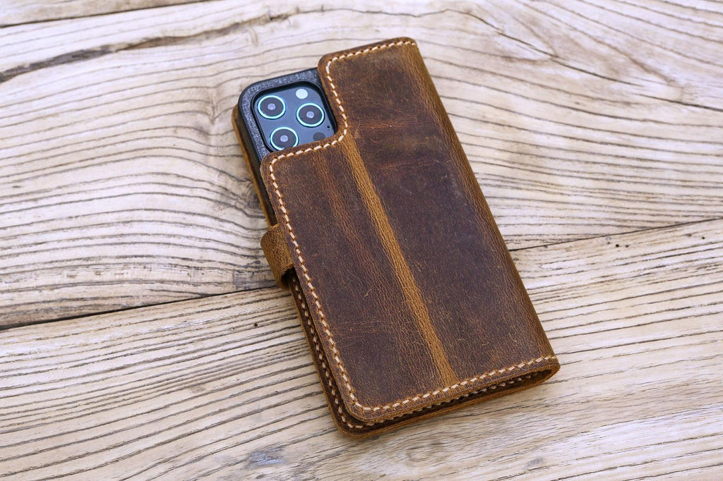 Personalized full grain Leather iPhone 12 pro max case detachable