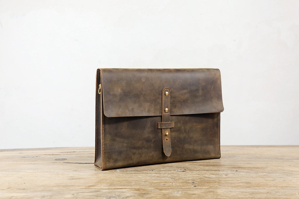 Rustic distressed brown leather shoulder messenger bag