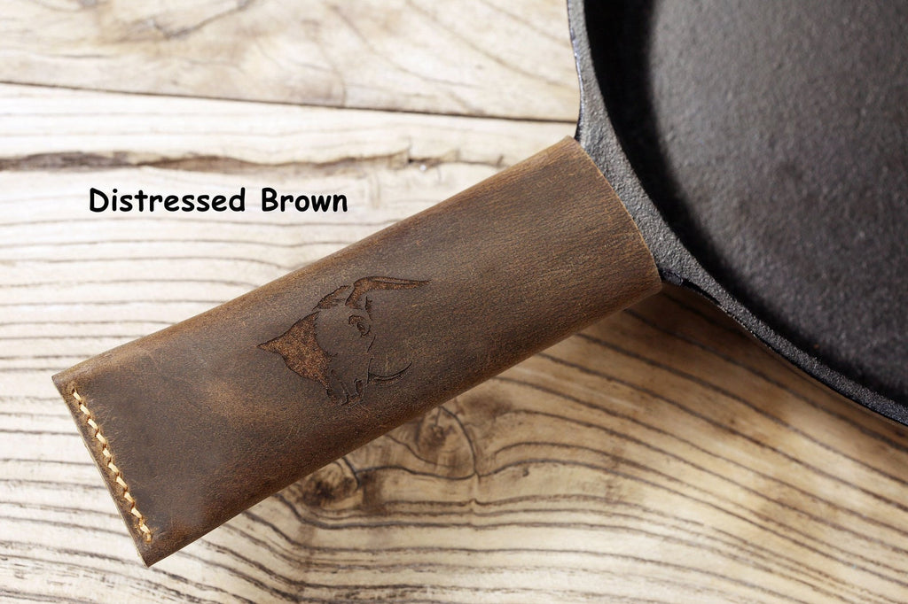 Personalized leather cast iron skillet handle cover