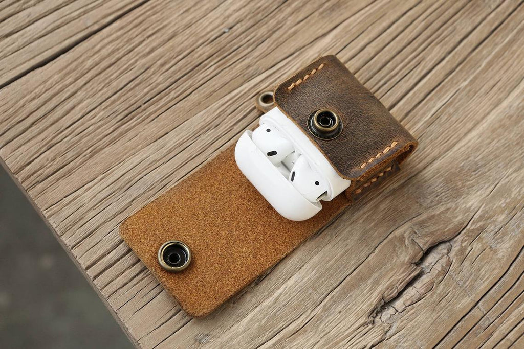 Brown leather apple airpod pro case