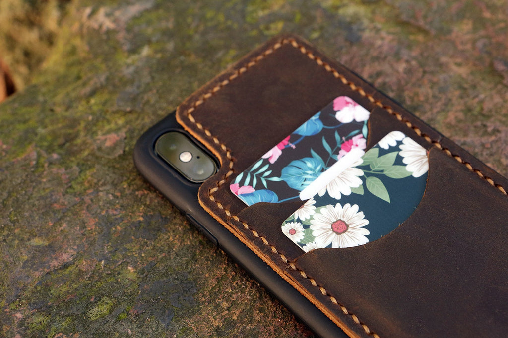 Personalized leather iPhone 11 Pro card case holder