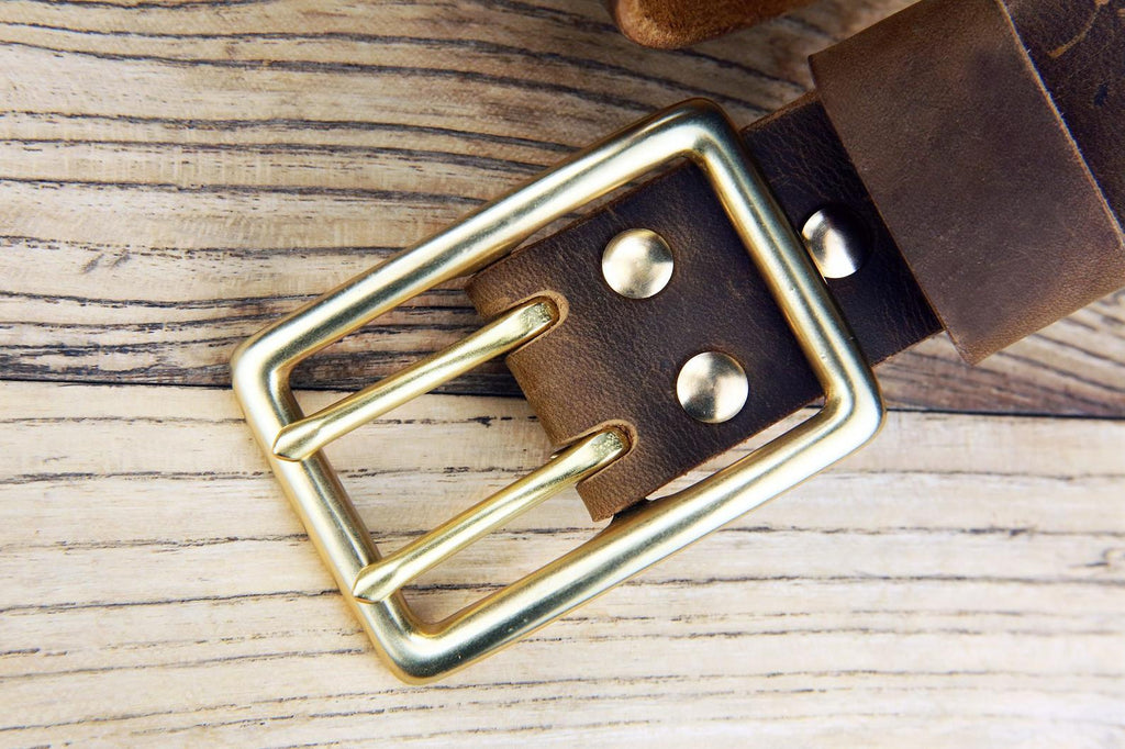 Heavy duty thick double prong leather belt