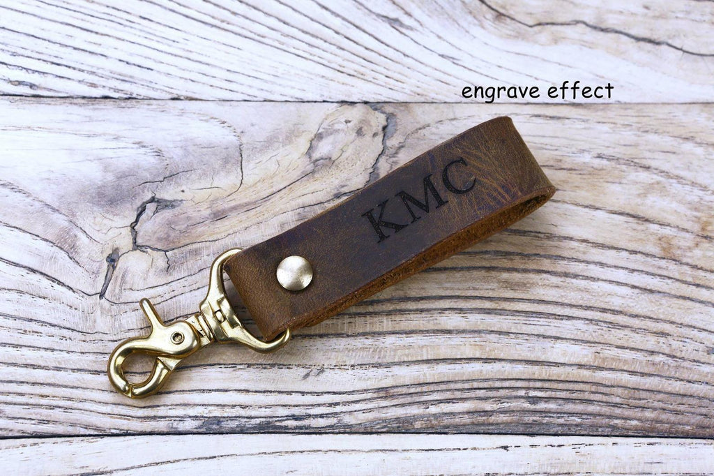 Full grain leather belt key holder / distressed leather belt hook clip for keys