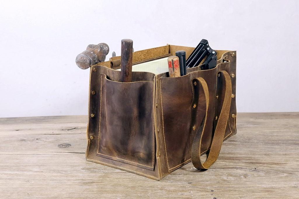 vintage leather tool tote bag for men