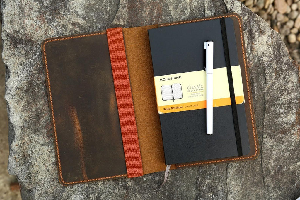 Leather notebook cover for moleskine classic notebook XL size 7.5 x 9.5 inch