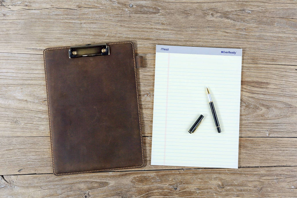 Personalized rustic leather clip board clipboard padfolio