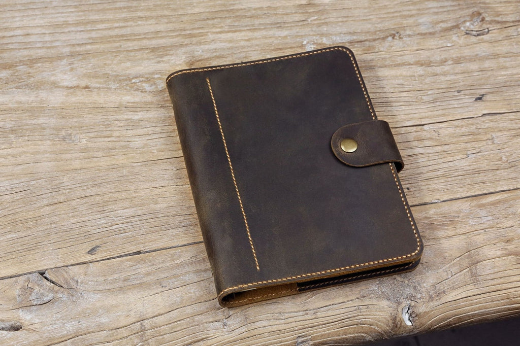 Vintage custom leather cover for Filofax orgainizer A5 size inserts