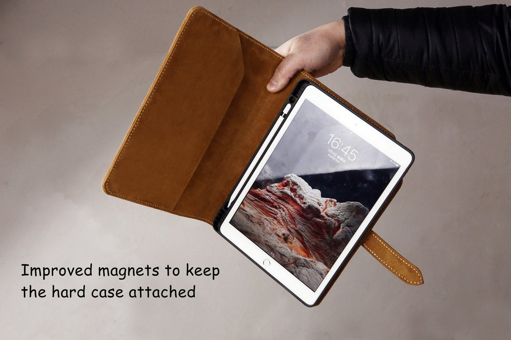 Hand stitched full grain leather iPad Pro Air case