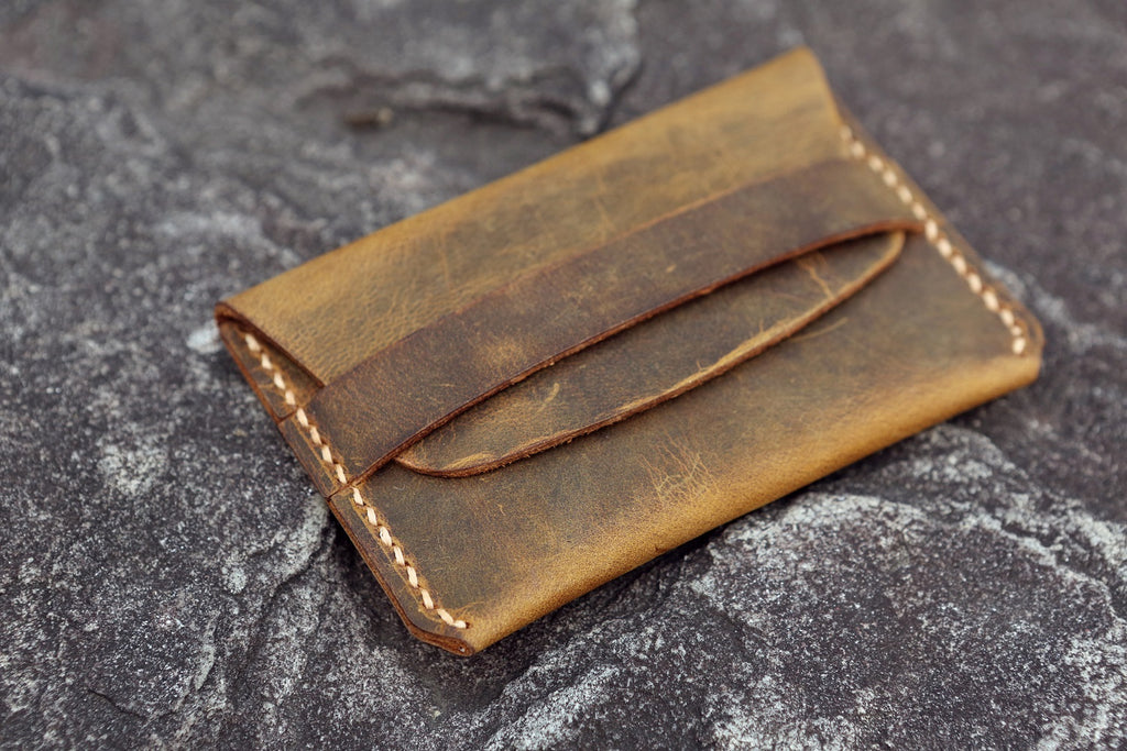 rustic leather card wallet