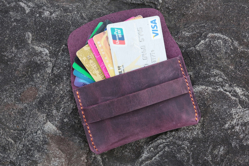 purple women leather card organizer