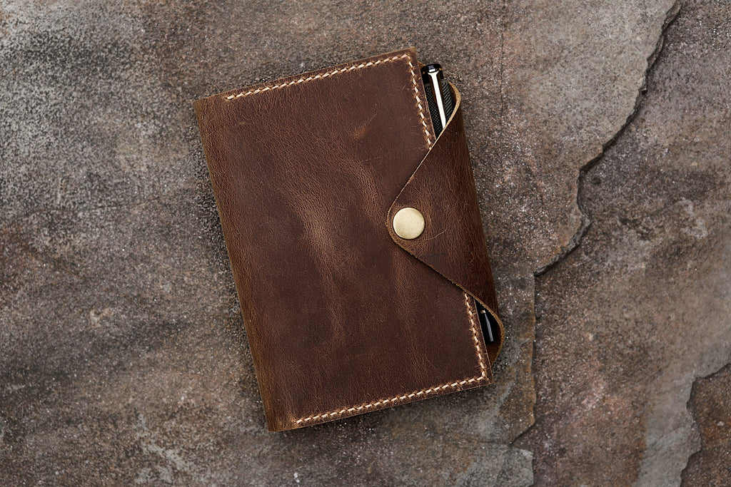 Genuine leather cover organizer for moleskine classic notebook POCKET 3.5 x 5.5 inch