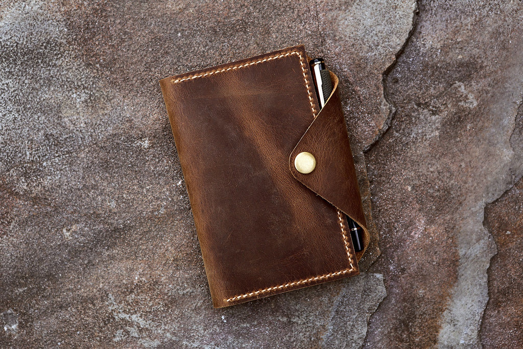 distressed leather field notes cover with pen holder