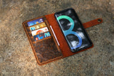 Women Vintage embossing leather Wristlet Galaxy S8 S8+ plus wallet case cover