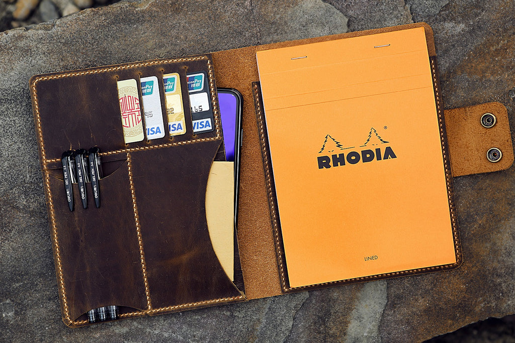 leather RHODIA notebook portfolio