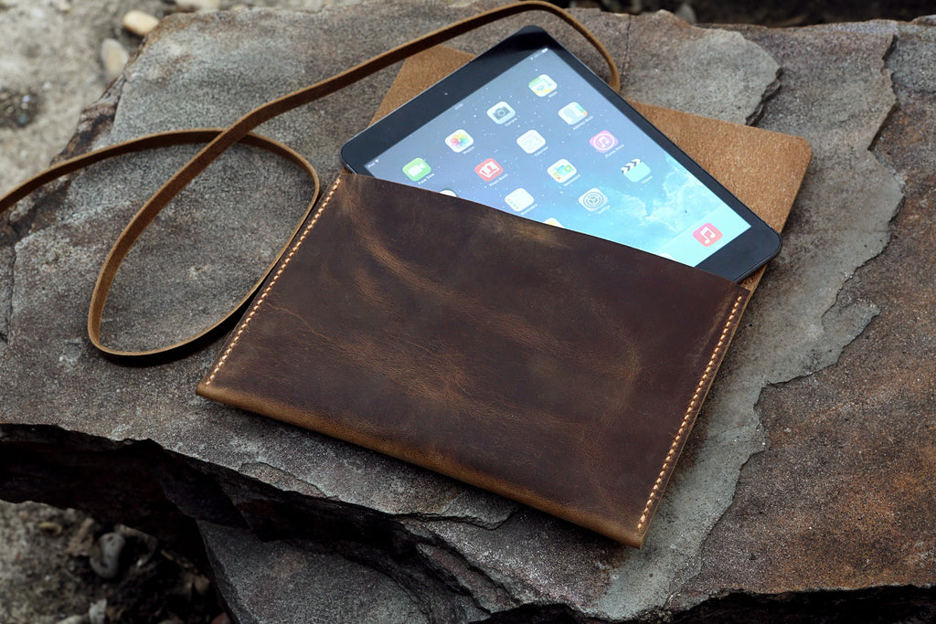 distressed leather iPad sleeve for 2019 New iPad mini 5 New iPad Air
