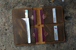 Leather family passport cover