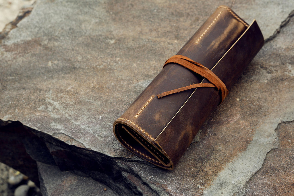 vintage leather pencil case