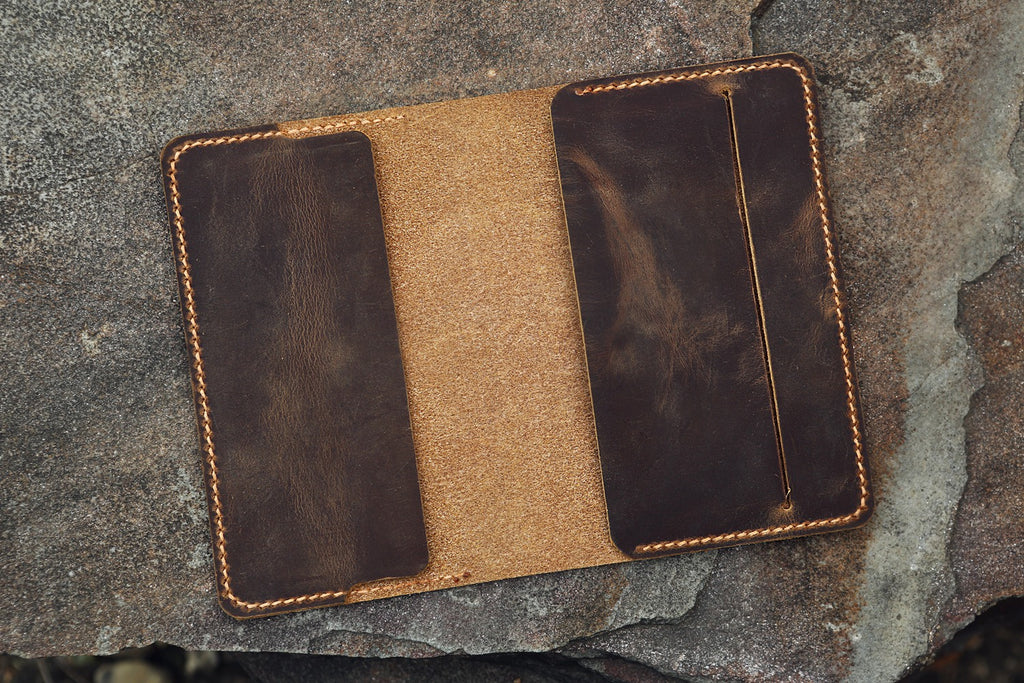 Personalized moleskine pocket notebook leather cover case