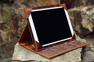 Personalized embossed leather iPad case with pencil holder