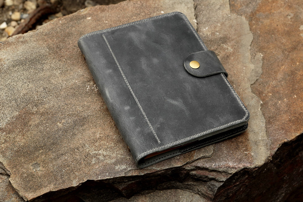 Gray leather travel journal with pockets A5 travel binder organizer