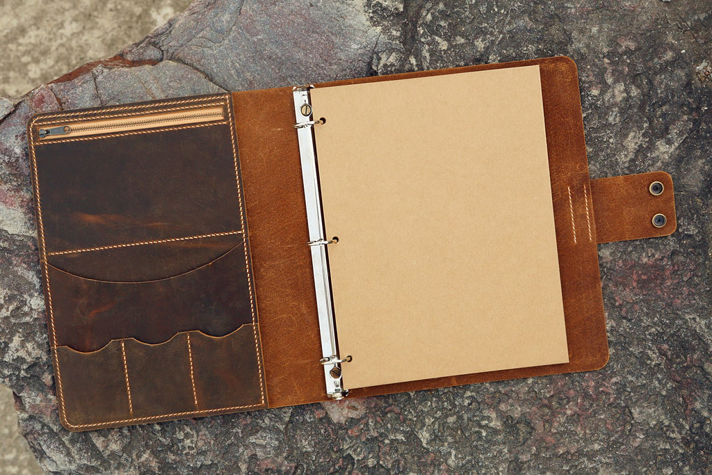 8.5 x 11 leather binder
