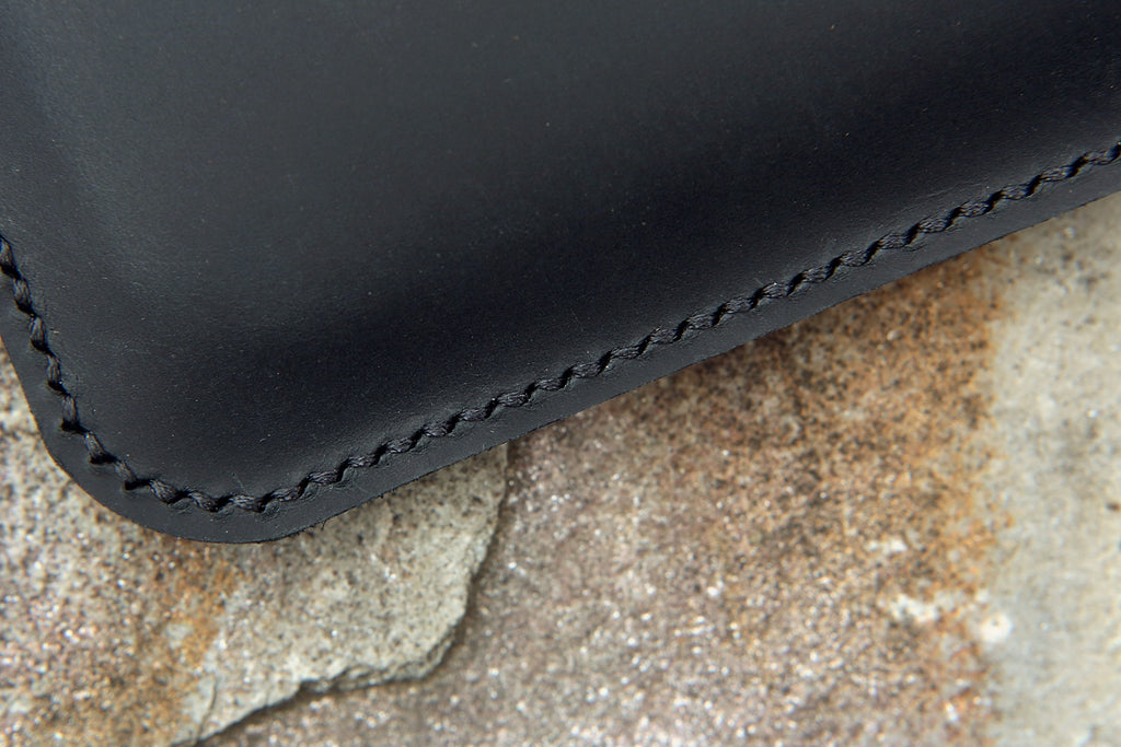 Black leather macbook pro air case sleeve