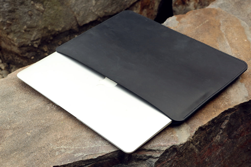 black leather macbook air case