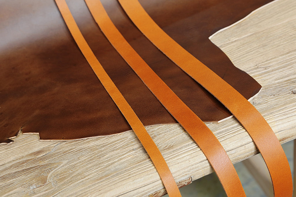 brown vegetable tanned leather strap
