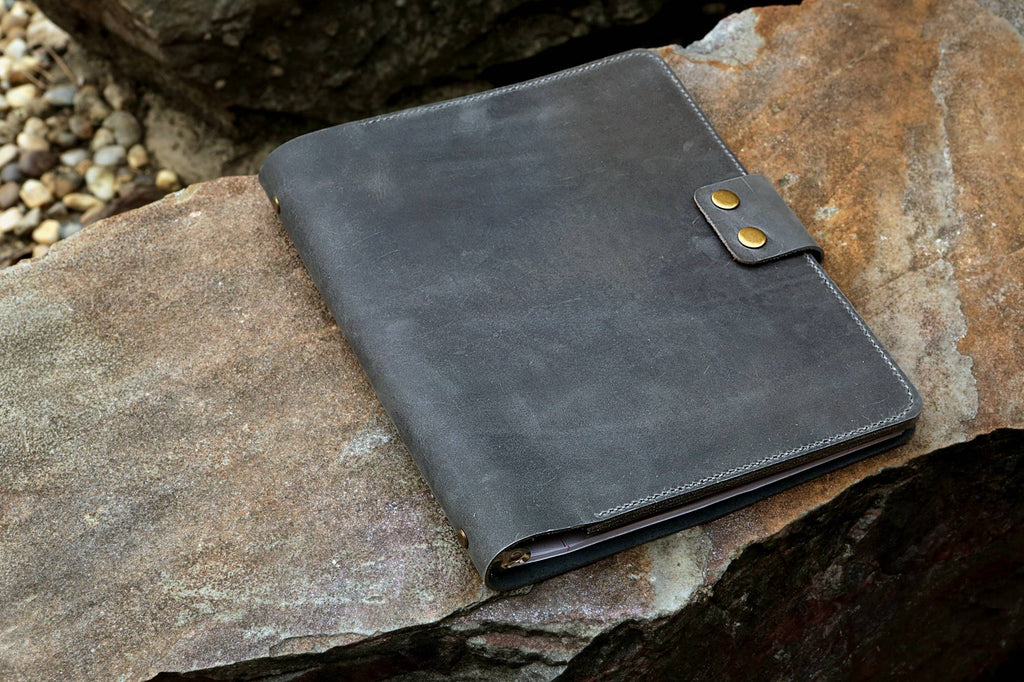 gray leather work portfolio