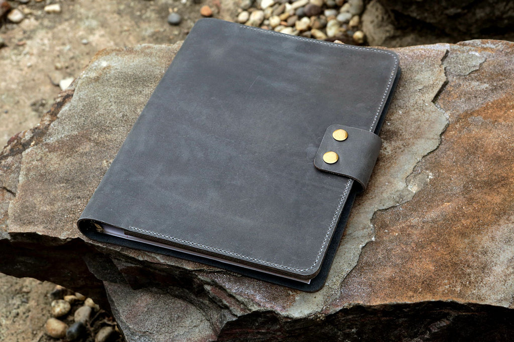 gray leather business folio