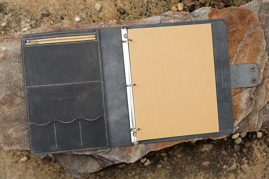 gray leather 3 ring padfolio