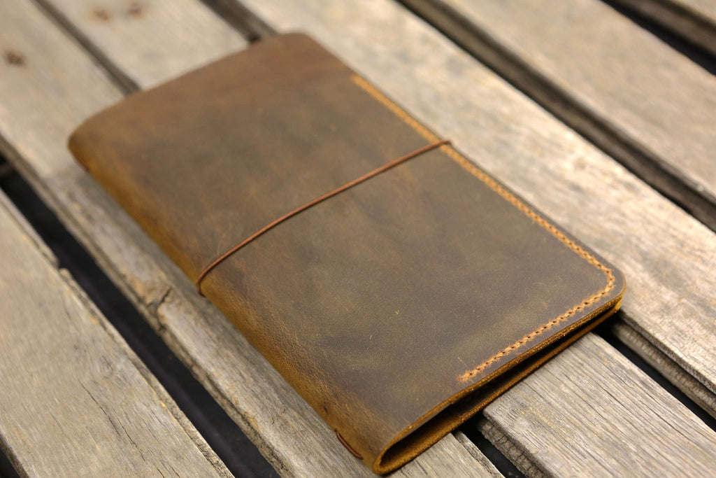 Personalized leather midori travelers notebook cover