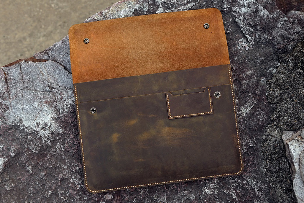 Handmade full grain leather macbook case