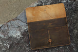 Distressed genuine leather macbook sleeve case
