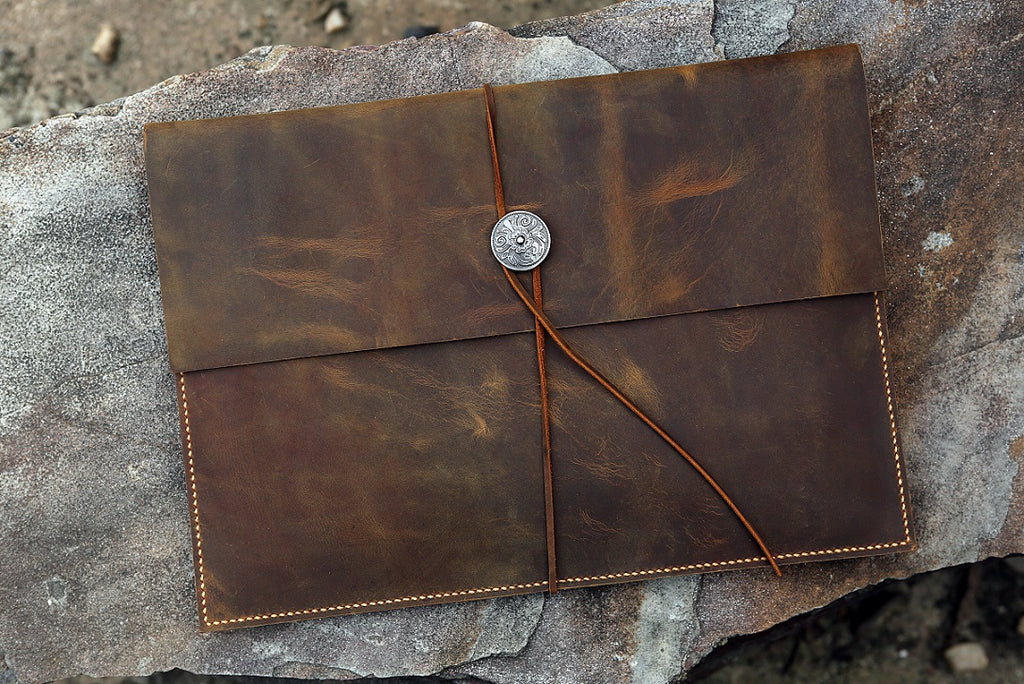 new product 4559f cbe25 Mens rustic distressed genuine leather macbook pro case portfolio