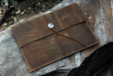 Mens rustic distressed genuine leather macbook pro case portfolio