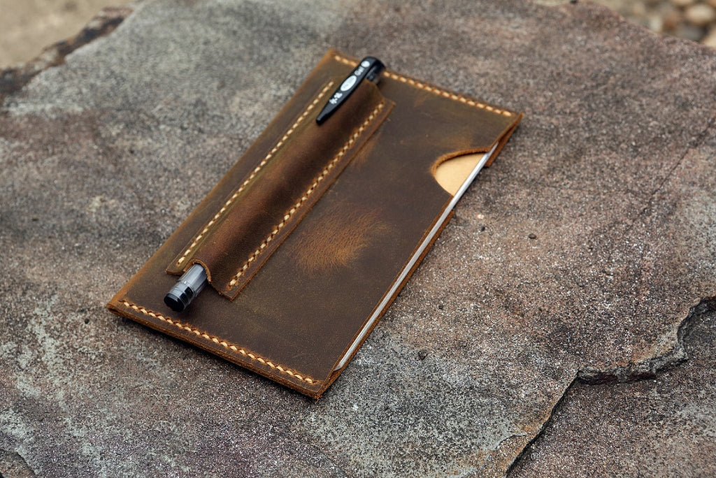 Personalized minimalist field notes leather sleeve pouch
