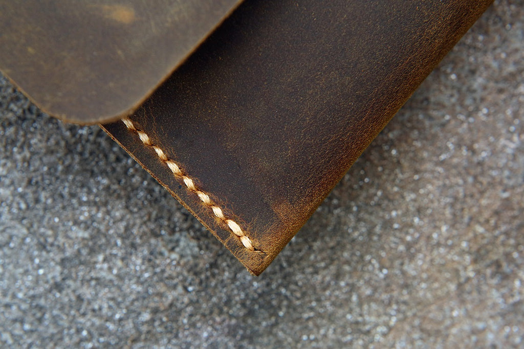 distressed leather pencil pouch / retro leather pen pencil case