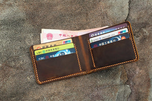 Personalized distressed leather men bifold wallet