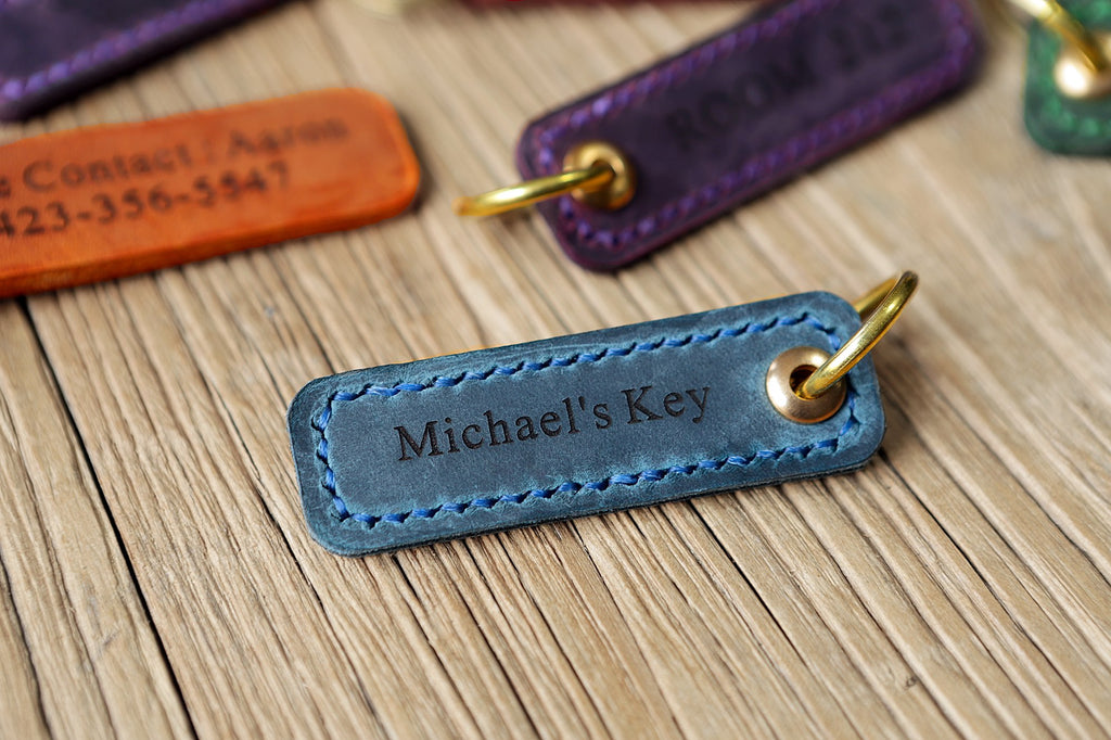 Personalized leather engraved custom key tags fob