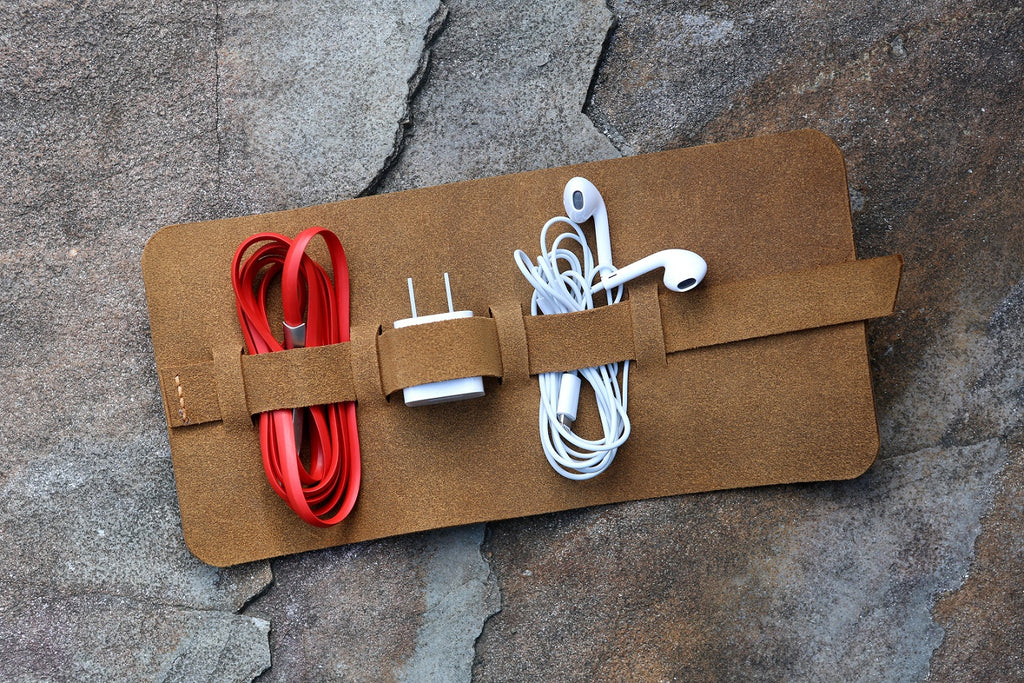 Leather cord wrap organizer cord roll holder