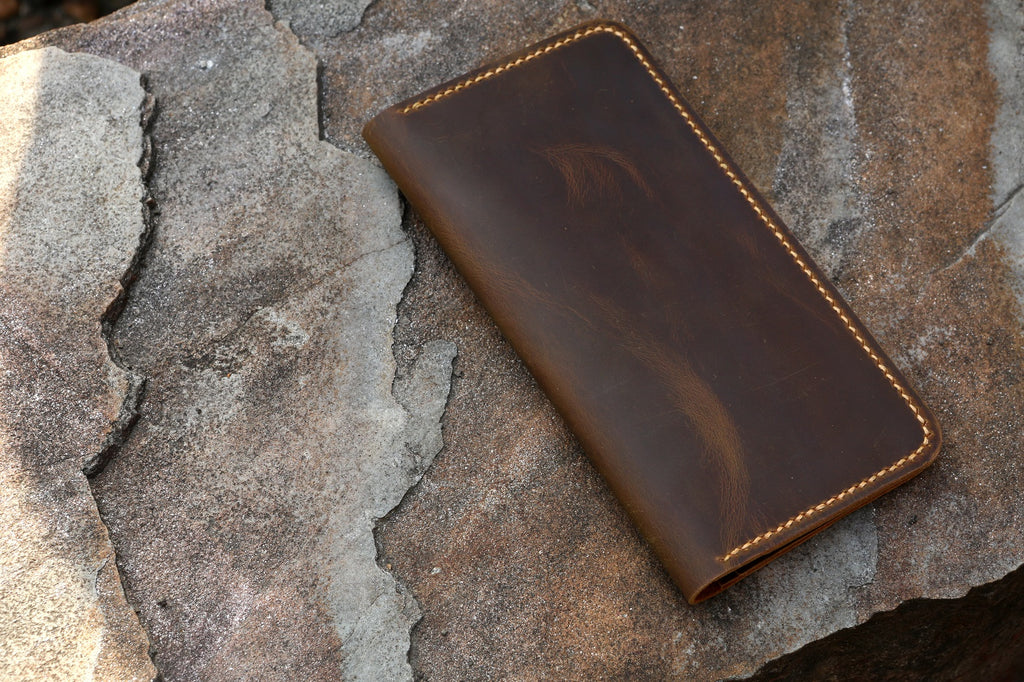 Leather passport wallet boarding pass holder
