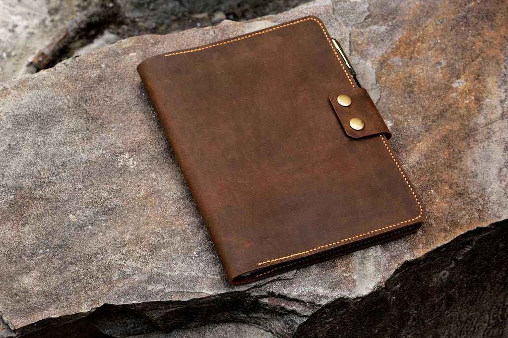 Vintage leather composition notebook book cover