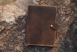 leather business portfolio folder for 8.5 x 11.75 letter size notepad