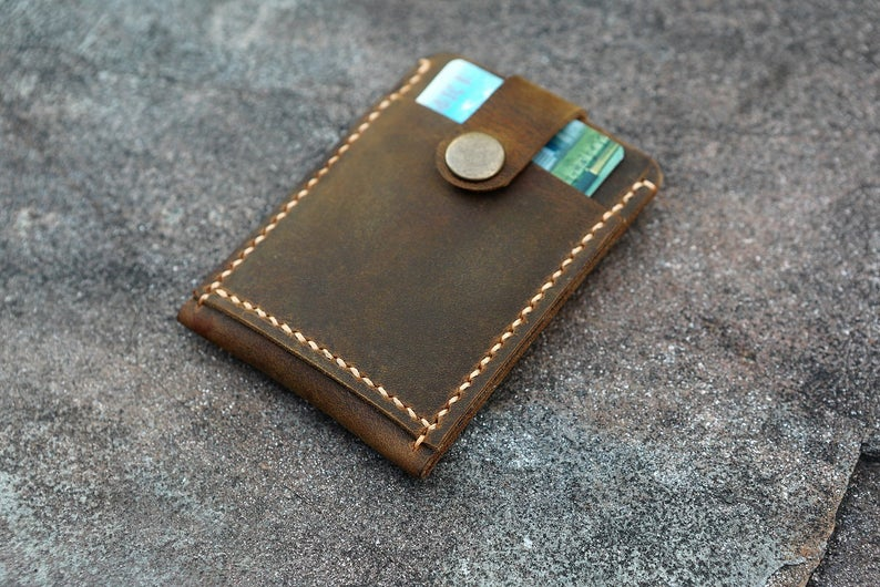 Handmade Leather pull up card holder