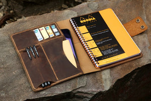 leather portfolio for A5+ Rhodia notebook