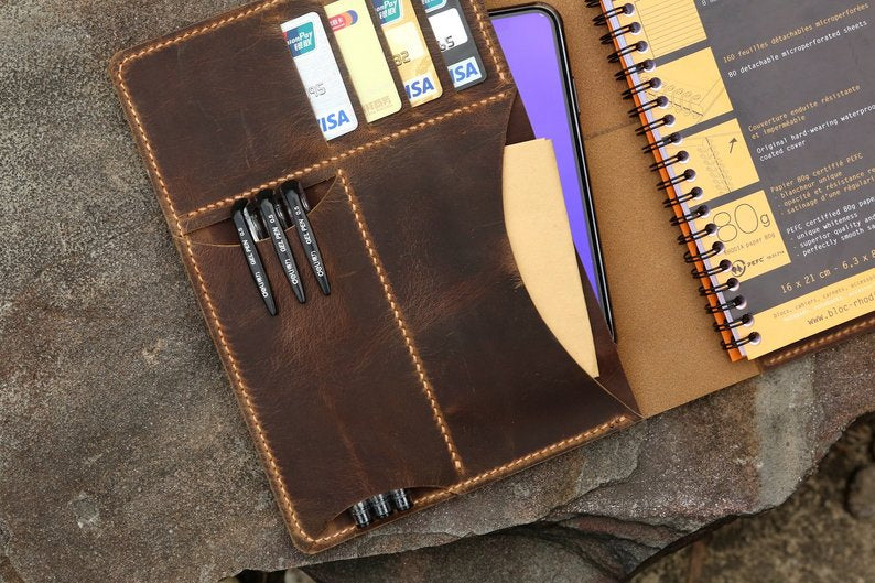 Handmade leather cover portfolio for RHODIA meeting notebook A5