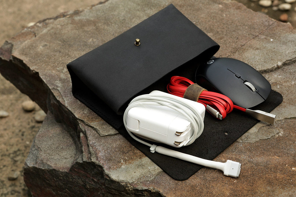 leather macbook charger pouch